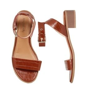 Long Tall Sally Brown Vegan Leather Block Heel
